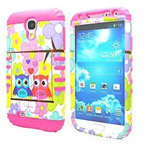 Galaxy S4 Case, Case Loca 3in1 Hybrid Case for Samsung Galaxy S4 SIV i9500 + Screen Protector + Stylus Pen (Owl Flowers PInk)