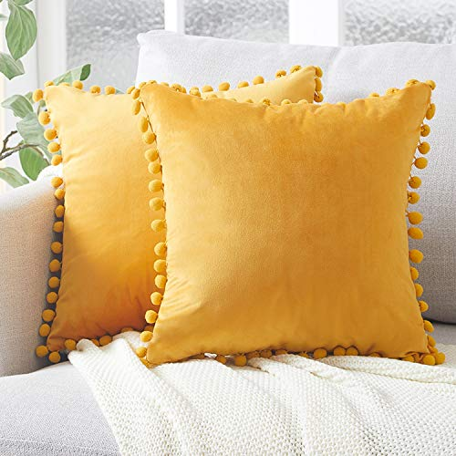 Top Finel Decorative Throw Pillow Covers with Pom Poms Soft Particles Velvet Solid Cushion Covers 18 X 18 for Couch Bedroom Car, Pack of 2, Mustard Yellow (Yellow Pillows Gold)