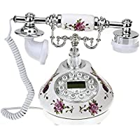 VivReal Retro Antique Style Resin Desk Telephone Phone Print Silver+White Home Decor