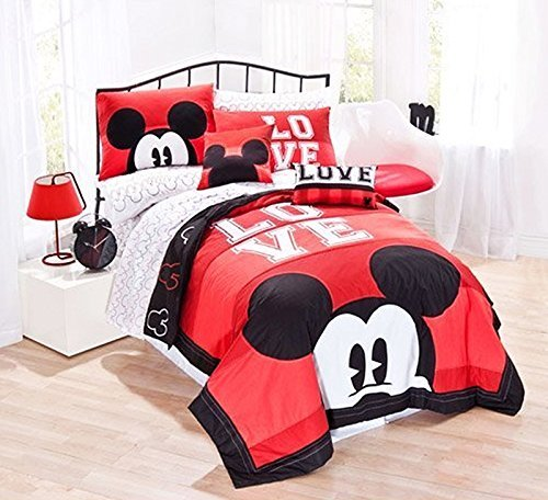 7pc Full Size Cotton Mickey Mouse Quilt Set (Quilt, 2 Pillow Shams and 4pc Sheet Set) (Bedding Sets Mickey Mouse Queen)