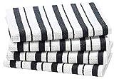 Cotton Craft - 4 Pack - Basket Weave Dish Cloths - Black - 100% Cotton - Oversized 15x15 - Modern Clean Striped Pattern - Convenient Hanging Loop