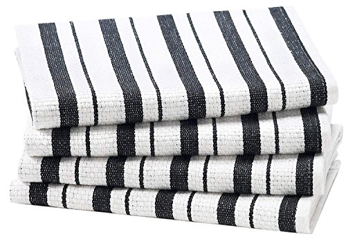 Cotton Craft - 4 Pack - Basket Weave Kitchen Towels - Black - 100% Cotton - Oversized 20x30 - Modern Clean Striped Pattern - Convenient Hanging Loop