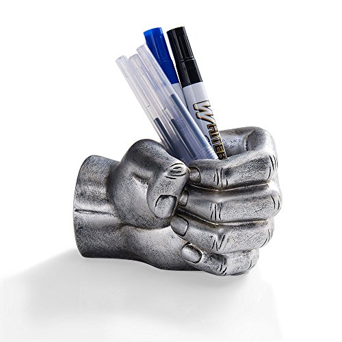 (Danya B. NY8040SIL Decorative Desktop Paper Weight Pen and Pencil Holder - FIST - Antique Silver )