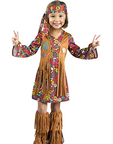 Mod Girl Halloween Costumes (Fun World Costumes Baby Girl's Peace and Love Hippie Toddler Costume, Brown,)