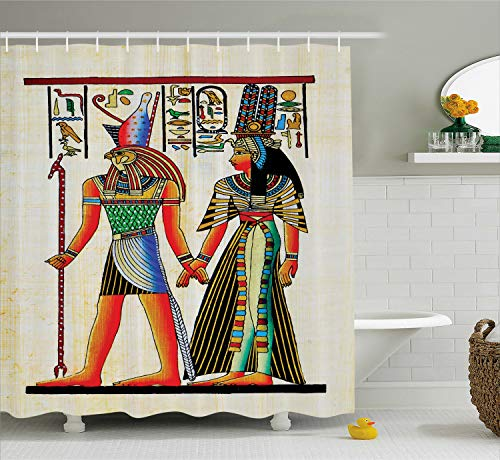 Ambesonne Egyptian Shower Curtain, Papyrus with Ancient Historical Characters Elements Building Old Retro Culture Art, Cloth Fabric Bathroom Decor Set with Hooks, 84 Inches Extra Long, Multicolor