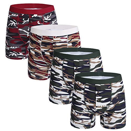 Mens Boxer Briefs Pack 4 Cotton Camouflage Underwear No Ride up Button Open ()