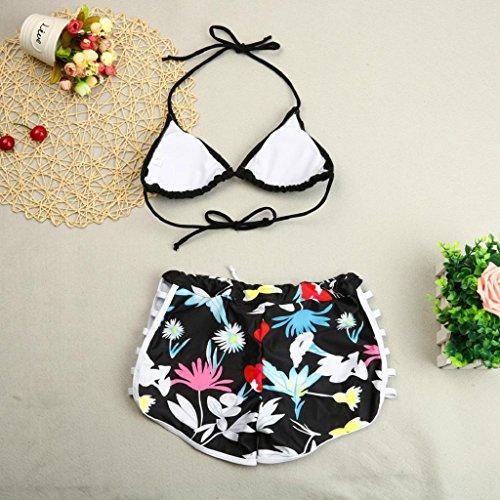 ALISIAM Verano Traje de Baño Conjunto de Push Up Bikinis set mujer traje de baño floral Traje de baño traje de baño de playa Black