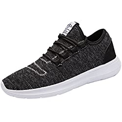 keezmz Men's Running Shoes Fashion Breathable Sneakers Mesh Soft Sole Casual Athletic Lightweight Black-43
