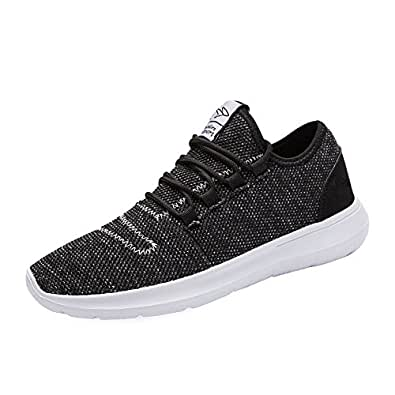 keezmz Men's Running Shoes Fashion Breathable Sneakers Mesh Soft Sole Casual Athletic Lightweight Black-40