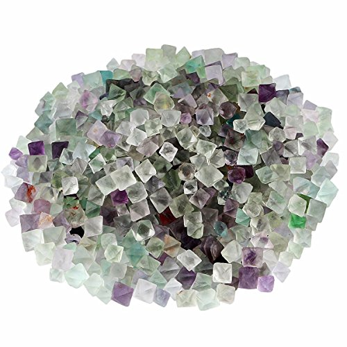 SUNYIK Natural Fluorite Rough Stone,Rhombus Crystal Quartz Point for Tumbling,Cabbing,0.1-0.3 inch,0.5pound(about 230 gram) (Clear Quartz Chips)