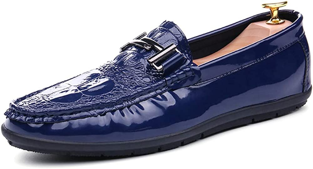 HYF Man Driving Loafer Casual Style PU Leather Crocodile Print Metal Buckle Boat Shoes Semi Formal Shoes Business Shoes for Men