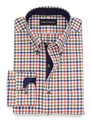 Paul Fredrick Men's Classic Fit Non-Iron Cotton Gingham Dress Shirt