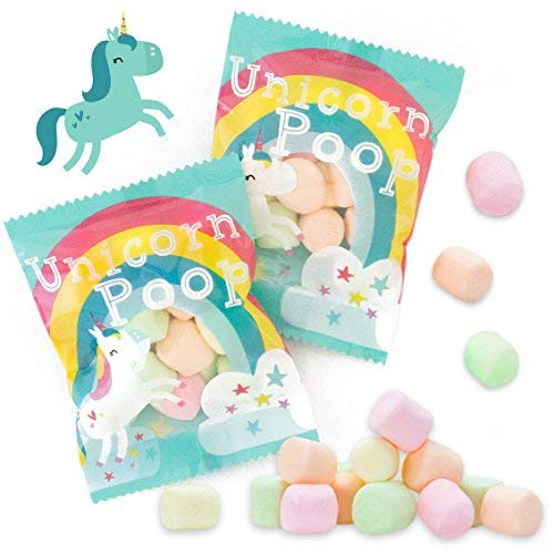 Unicorn Poop Candy - MADE IN THE USA - 24 Party Supplies Bags Favors for Kids - Marshmallows Bulk Treat Packs - Stocking Stuffers