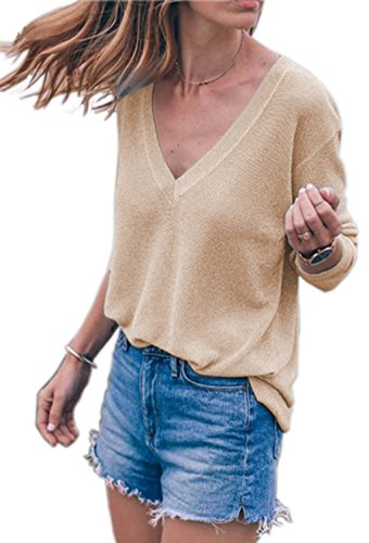 ASSKDAN Femme Casual T-Shirt en Tricot Col V Manche Longue Tops Pull Automne-Hiver ?- Kaki