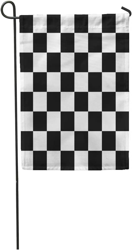 Semtomn Garden Flag Checker Flag Race Pattern Abstract Auto Black Car Checkered Home Yard House Decor Barnner Outdoor Stand 12x18 Inches Flag