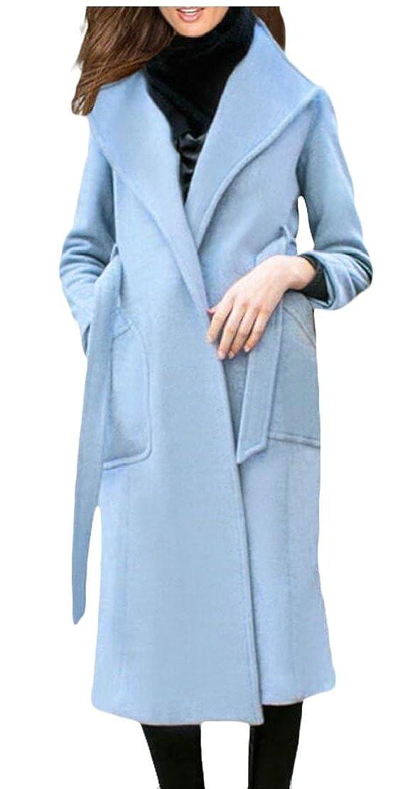 1 WSPLYSPJY Women Lapel Wool Blend Winter Fall Warm Coat Overcoat