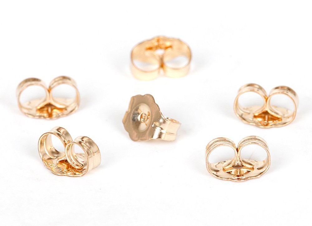 8 Piece 14K Yellow Gold Earring Backs Ear Locking