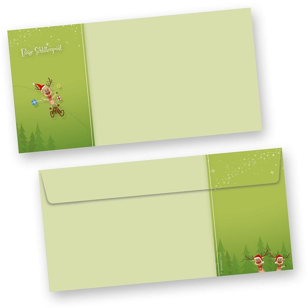 Briefumschläge Weihnachten Rentiere 250 Stück DIN lang ohne Fenster, Fenster, Fenster, grün witzig Besteellen B00FQPFEAA | Neu  d058e2