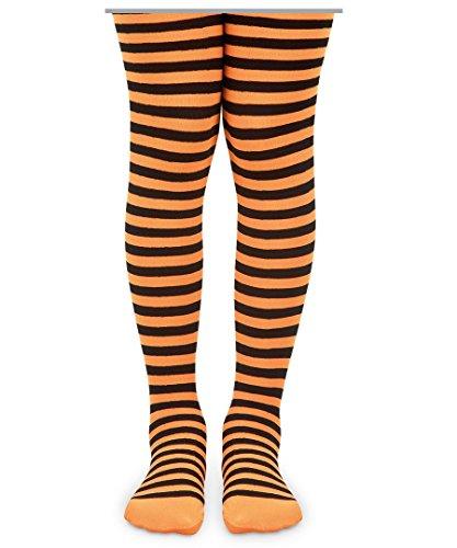 Jefferies Socks Stripe Tights (10-14 years, Orange/Black)