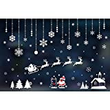 XINDEEK Merry Christmas Wall Sticker Mural Removable Decal Household Room Window Decor, Elk/Snowmen/Santa Claus/Snowflake(B)