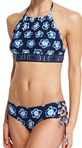 Michael Kors 2 Bikini Piece Set - High Neck Crop Halter Bandeau Top & Lace Up Side Cut Out Hipster Briefs, XS/S, - Junior Kors Michael