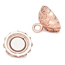 15mm Rose Gold plated Magnetic Ball Clasp Miligrain Firework Design 1 piece