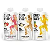 Fuel For Fire - Fruit & Protein Smoothie Squeeze Pouch 4.5 oz - 9 Ingredients - Perfect for Workouts, Kids, Snacking - Gluten-Free, Soy-Free, Kosher, No Added Sugar (Variety - Best Sellers, 12-Pack)