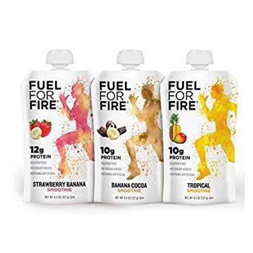 Fuel For Fire - Variety - Best Sellers (12 Pack) Fruit & Protein Smoothie Squeeze Pouch | Perfect for Workouts, Kids, Snacking - Gluten-Free, Soy-Free, Kosher, No Added Sugar (4.5 ounce pouches) ()
