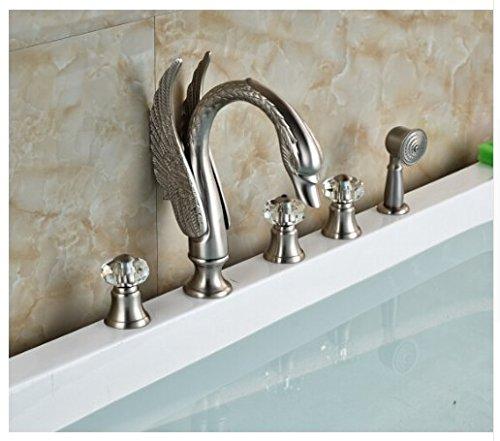 Shower Swan Crystal (Gowe Luxury Brushed Nickel Swan Bathroom Tub Faucet 5 PCS Crystal Hand Shower)