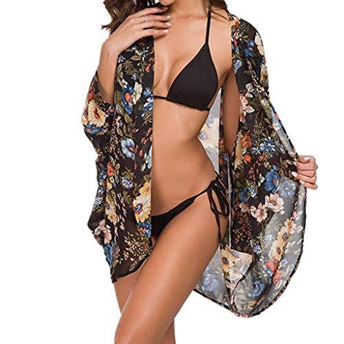 Witspace Women's Floral Print Sheer Chiffon Loose Kimono Cardigan Capes Blouse Black