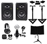 (2) Rockville ASM5 5'' 200W Studio Monitors+Stands+Pads+Headphones+Mic+Shield