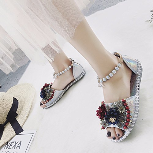 Shoes Leather shopping Flower Summer Comfortable Silver16 Ladies Soft Sandals more Slippers BBfgxwRa