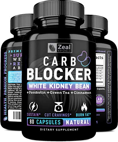 Keto White Kidney Bean Carb Blocker + Forskolin [80 Capsules] White Kidney Bean Extract & Forskolin Extract for Healthy Weight Management & Carb Intercept w Green Tea - Starch Inhibitor for Keto Diet