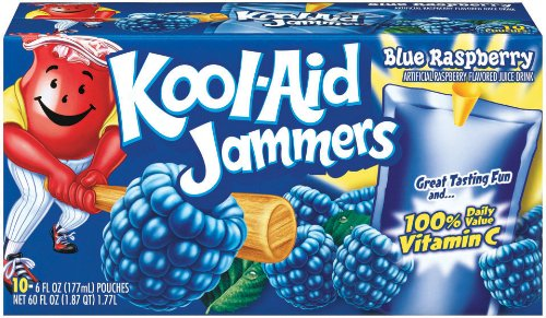 (Kool-Aid Blue Raspberry Jammers, 10-Count, 6-Ounce Pouches (Pack of 4))