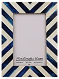 Picture Frames Photo Frame Chevron Herringbone Vintage Wooden Handmade Naturals Bone Classic Size 4x6 Inch (Blue)