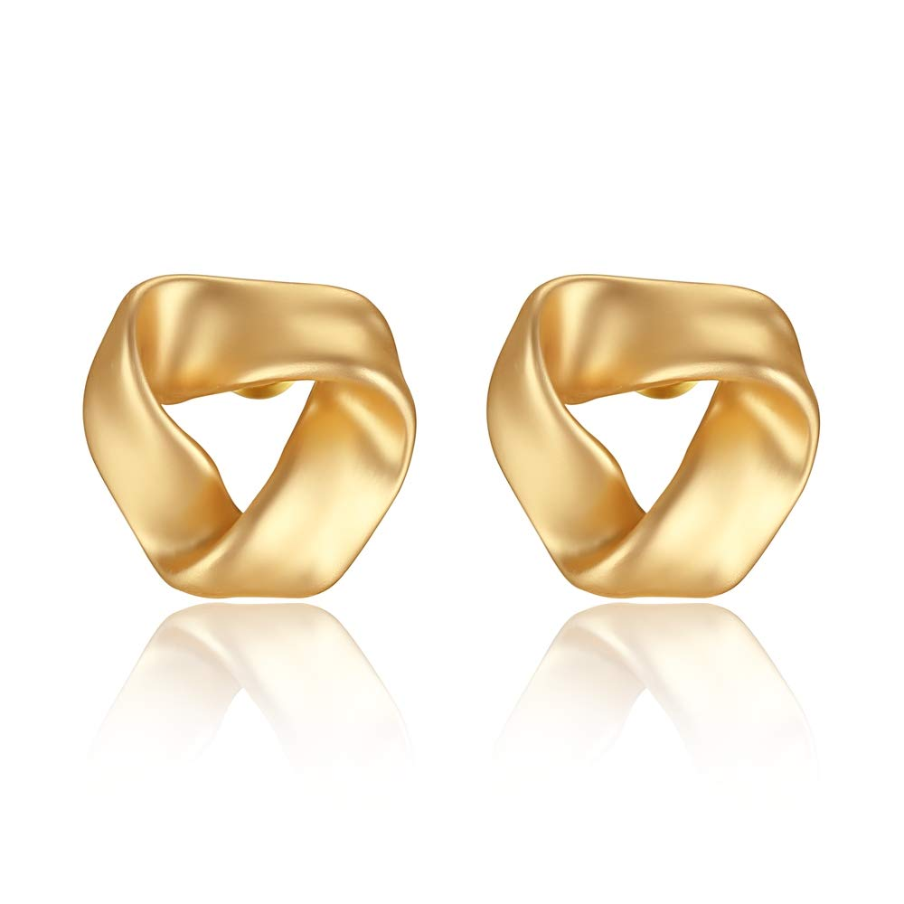 LEVIOLET Gold Knot Stud Earrings Woman Hypoallergenic Clip-On Earring for Women LVE00001_NP