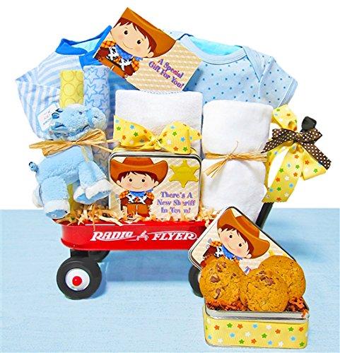 Little Cowboy   Baby Boy Gift Basket in a Miniature Radio Flyer Wagon