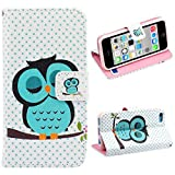 Roodfox Fashion Sleeping Owl Polka Dot Flip Leather Cover Case For iPhone 5C