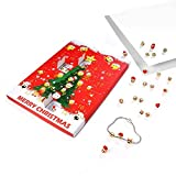 9rice Advent Calendar,24 Days Christmas Emoji Jewellery Advent Calendar +8 Earrings +15 Beads Bracelet (Red)