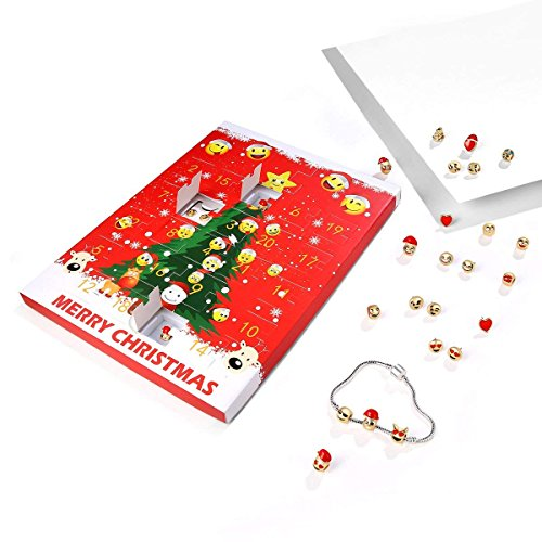 9rice Advent Calendar,24 Days Christmas Emoji Jewellery Advent Calendar +8 Earrings +15 Beads Bracelet (Red)