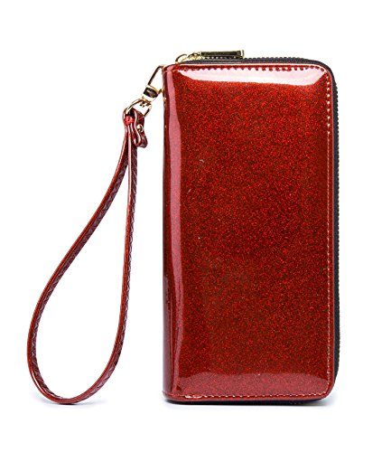 LIKESHE Women DeepRed Pearlescent Skin Multifunctional Double Zipper Wallets For Women ()