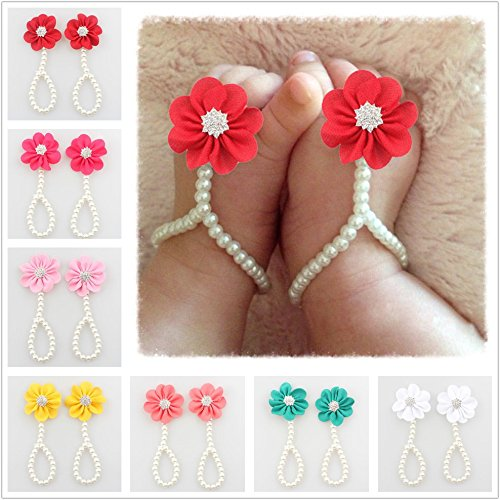 Set Lovely Pearl (7PC Baby Girl Pearl Chiffon Barefoot Flower Sandals Value Set,Lovely and Charming Design Available Fit 3~48 Months (Color))