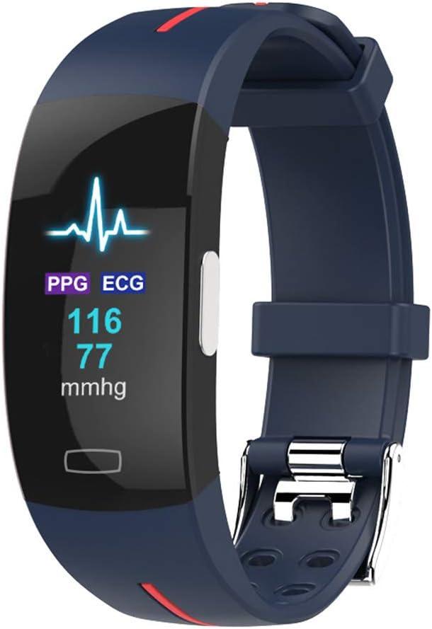 ALXDR Pantalla a Color Pulsera Inteligente Portátil Monitor de ECG + PPG Frecuencia cardíaca Presión Arterial Multifunción Reloj Inteligente Impermeable Rastreador de Ejercicios,A