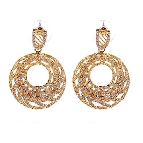 Beydodo 18k Gold Plated Women Earring (Stud Earrings) Cycle Cubic Zirconia Gold