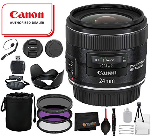 Canon EF 24mm f/2.8 is USM Lens with Professional Bundle Package Deal Kit for EOS 7D Mark II, 6D Mark II, 5D Mark IV, 5D S R, 5D S, 5D Mark III, 80D, 70D, 77D, T5, T6, T6s, T7i, SL2