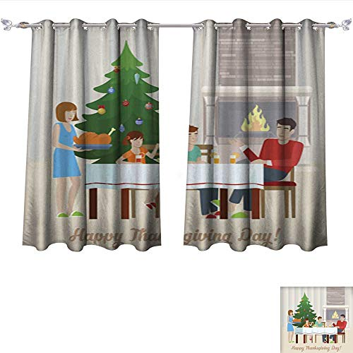 Sturbridge 6 Light (DragonBui Thermal Insulated Grommet Blackout Curtains Flat Design Vector Happy Thanksgiving Day Postcard Greeting Card Template Family at The Festive Tabl for Bedroom W72 x L45/Pair)