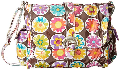 Kalencom Laminated Buckle Bag, Big Daisy Chocolate