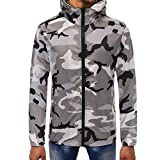 SMALLE ◕‿◕ Clearance,Mens Camouflage Zipper Pullover Long Sleeve Hooded Sweatshirt Tops Blouse