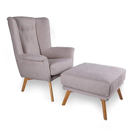 HOGAR TAPIZADO Iris + Puff sillón orejero ONX Plata: Amazon ...