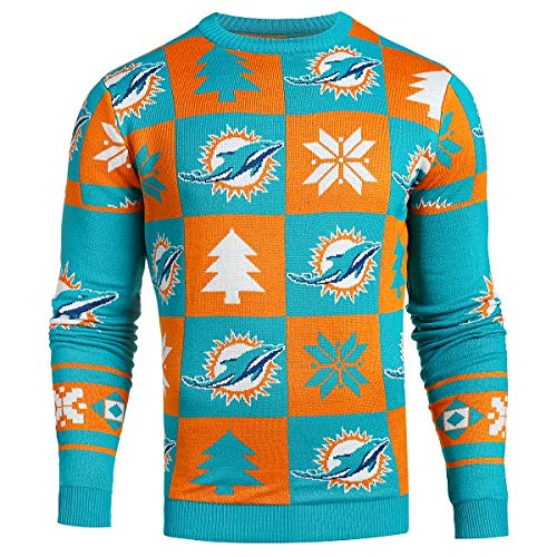 Miami Dolphins Patches Ugly Crew Neck Sweater Extra Large